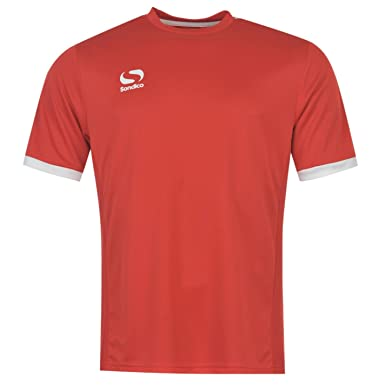 e41c858a419 Sondico Kids Fund Poly T Shirt Juniors Boys Short Sleeve Sports Training  Tee Top Red/White 9-10 (MB): Amazon.co.uk: Clothing