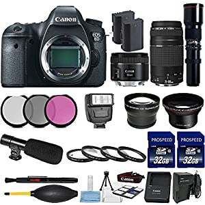 Canon EOS 6D 20.2MP Full Frame DSLR w/ Canon EF 50mm f/1.8 STM Len + Canon 75-300mm Zoom Len + 500mm Preset Telephoto Len + 2pc Commander 32GB Memory Cards + LED Light Bundle - International Version
