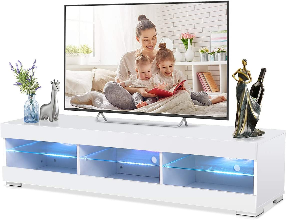 Moerae 57 Tv Unit Cabinet Stand With Led Lights Storage High Gloss Shelves Furniture Home Living Room And Bedroom In White Electronics