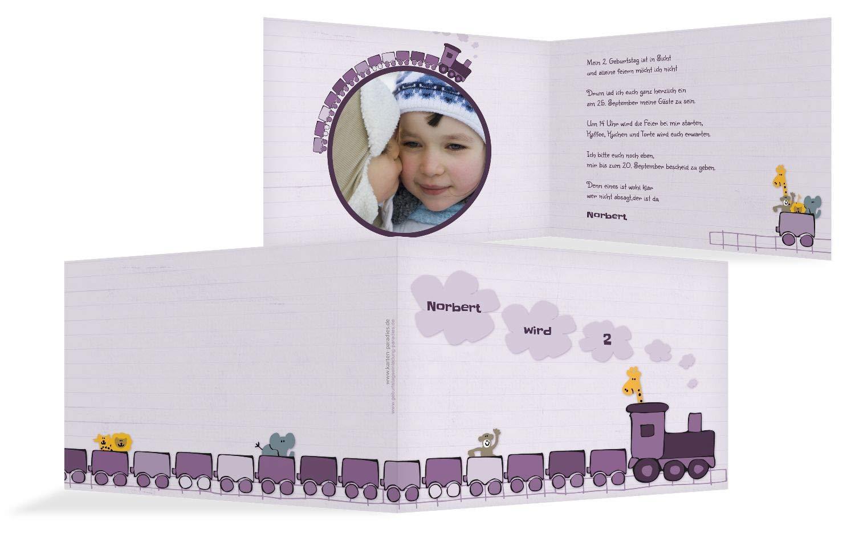 Einladung Foto Zoozug, 20 Karten, LilaFlieder B07L13P4V4 | Zuverlässige Qualität  | Qualitätskönigin  | Quality First