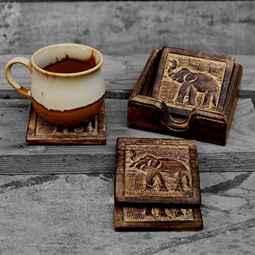 - storeindya Drink Coaster Set of 4 Handcrafted for Tea Coffee Beer Glass Dining Elephant Design Tabletop Home Decor Kitchen Accessories