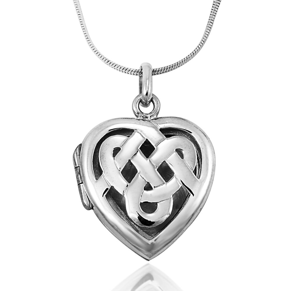 925 Sterling Silver Cut Out Celtic Knot Love Heart Locket Pendant on Alloy Necklace Chain, 18 inches