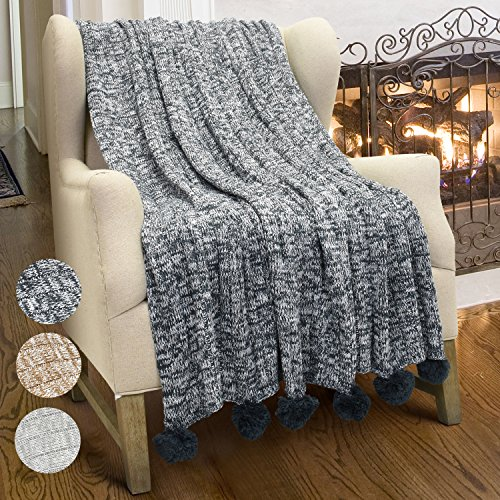 Cable Knit Throw Blanket, Reversible Soft Pom Pom Throws Warm Crochet Sweater Blanket With Gift Box for Bed Couch Travelling 60x50 By Catalonia Black