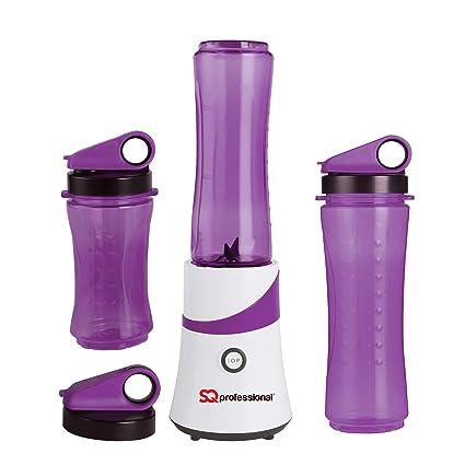 SQ Pro Fabricante del Smoothie de la fruta Exprimidor Batidora trituradora de hielo de 300 W con 3 x botellas de Viajes (púrpura)