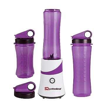 SQ Pro Fabricante del Smoothie de la fruta Exprimidor Batidora trituradora de hielo de 300 W con 3 x botellas de Viajes (púrpura): Amazon.es