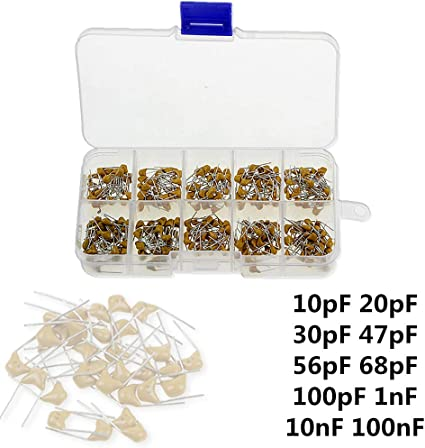 300 Pcs 10 Value 50V 10pF To 100nF Multilayer Ceramic Capacitor Assortment Kit