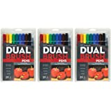 Tombow 56167 Dual Brush Pen Art Markers, Primary, (10pcs) - 3 Pack
