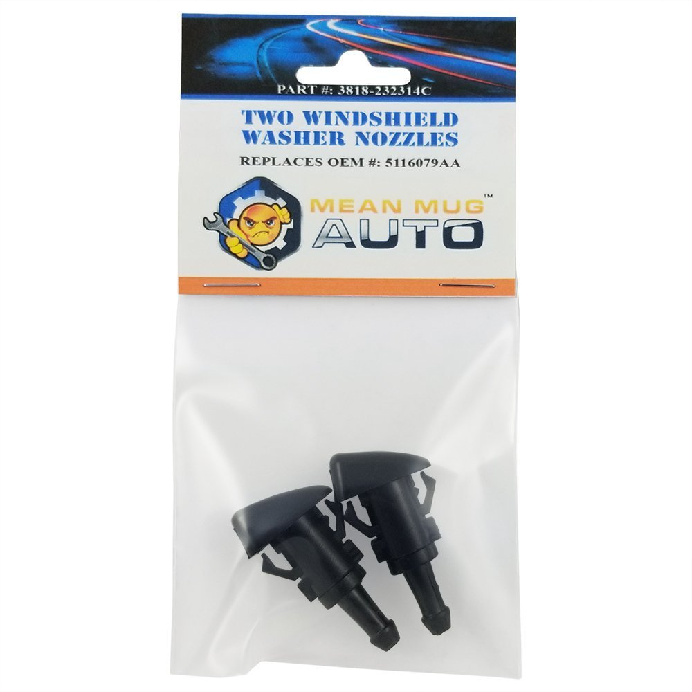 Mean Mug Auto 3818-232314C (Two) Front Windshield Washer Nozzles - For: Chrysler, Dodge - Replaces OEM #: 5116079AA