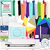 Silhouette Curio Starter Bundle with 12 Oracal 651 Sheets, 12 Siser Easyweed Heat Transfer Sheets, Guide, and More