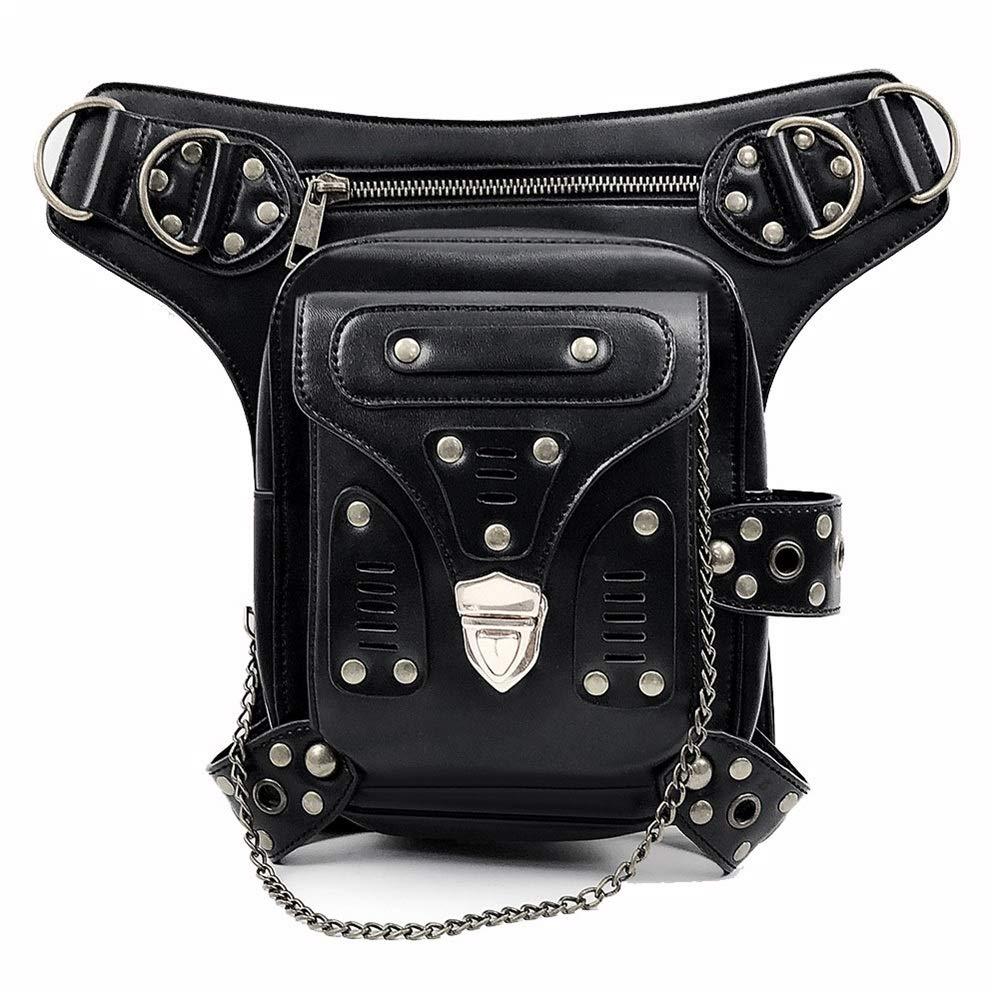 Zxcvlina Steampunk Waist Bag Gothic Leather Cross Body Bags Victorian Rivet Leg Thigh Holster Bags Multifunction Waist Bag Belt Bag for Women Gift