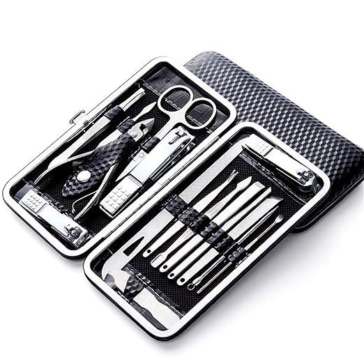 LCDP Set de manicura Nail Clipper, 16 Piezas de Acero Inoxidable Nail Care Cutter Remover Cuticle Nail Clippers Pedicure Tool Kit, con un Estuche portátil,Black: Amazon.es: Hogar