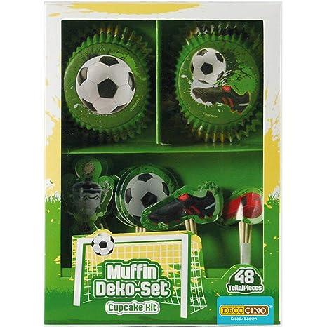 Decocino Muffinset Fußball   HOCHWERTIGE Fußball Muffin Deko von DEKOBACK   Deko für Fußballmuffins, Fußball Cupcakes, Fußballkuchen uvm   1 Pack (48