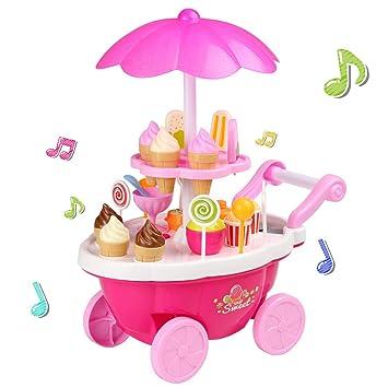 Smibie Carretilla de Helado Conjunto de Juguete 24 PCS con Música Sonido y Luz Iluminación Set de Ice Cream Caramelo para Jugar para Niños: Amazon.es: ...