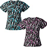 Medgear 2-Pack Womens Printed Scrub Tops with 4 Pockets & ID Loop (L)