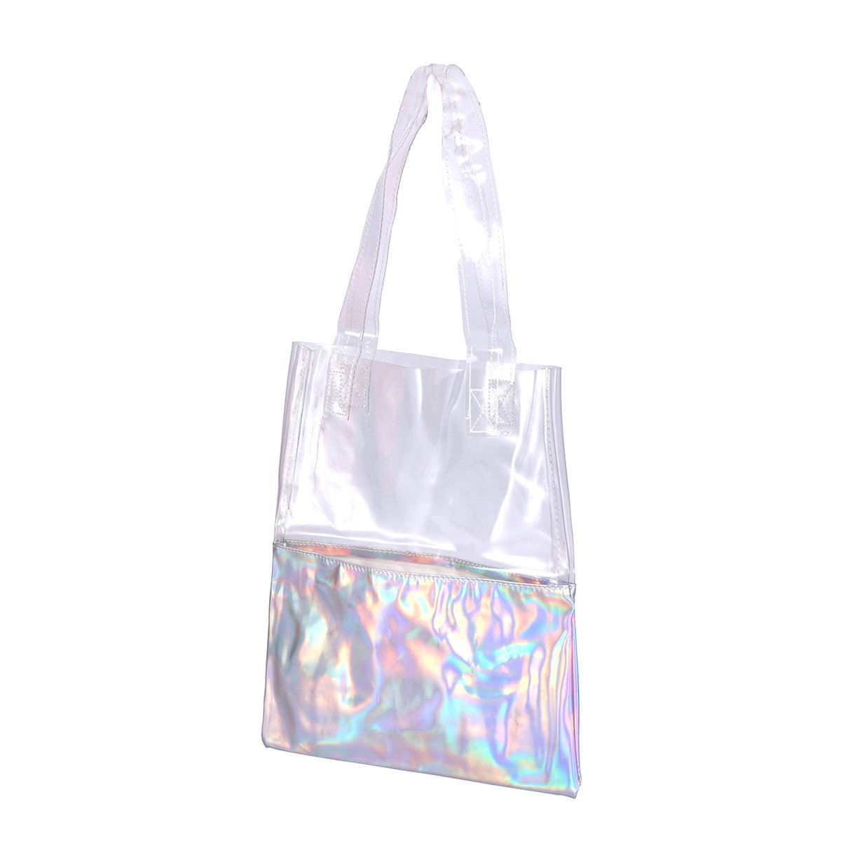 LUOEM Shoulder Bag Chic Hologram Transparent Clear Handbag Tote Bag for Women Silver