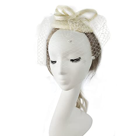 VKFashion Grigio Sinamay Fascinator Cappello ca5d88ca3f48