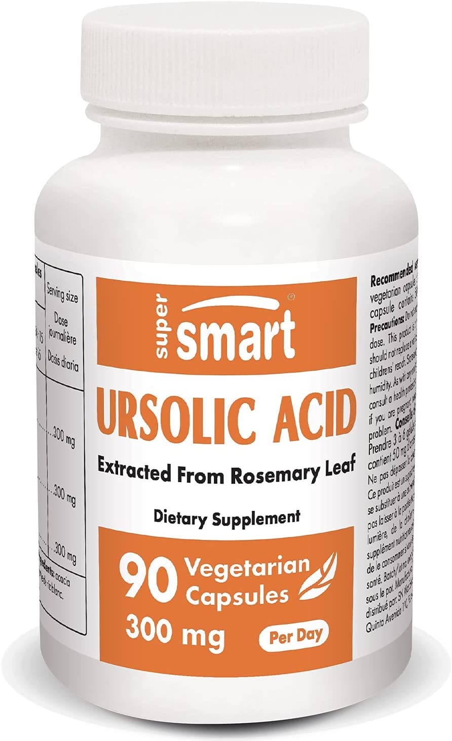 Supersmart - Ursolic Acid 300 mg Per Day - Rosemary Leaf Extract - Promotes Muscle Mass & Strength | Non-GMO & Gluten Free - 90 Vegetarian Capsules