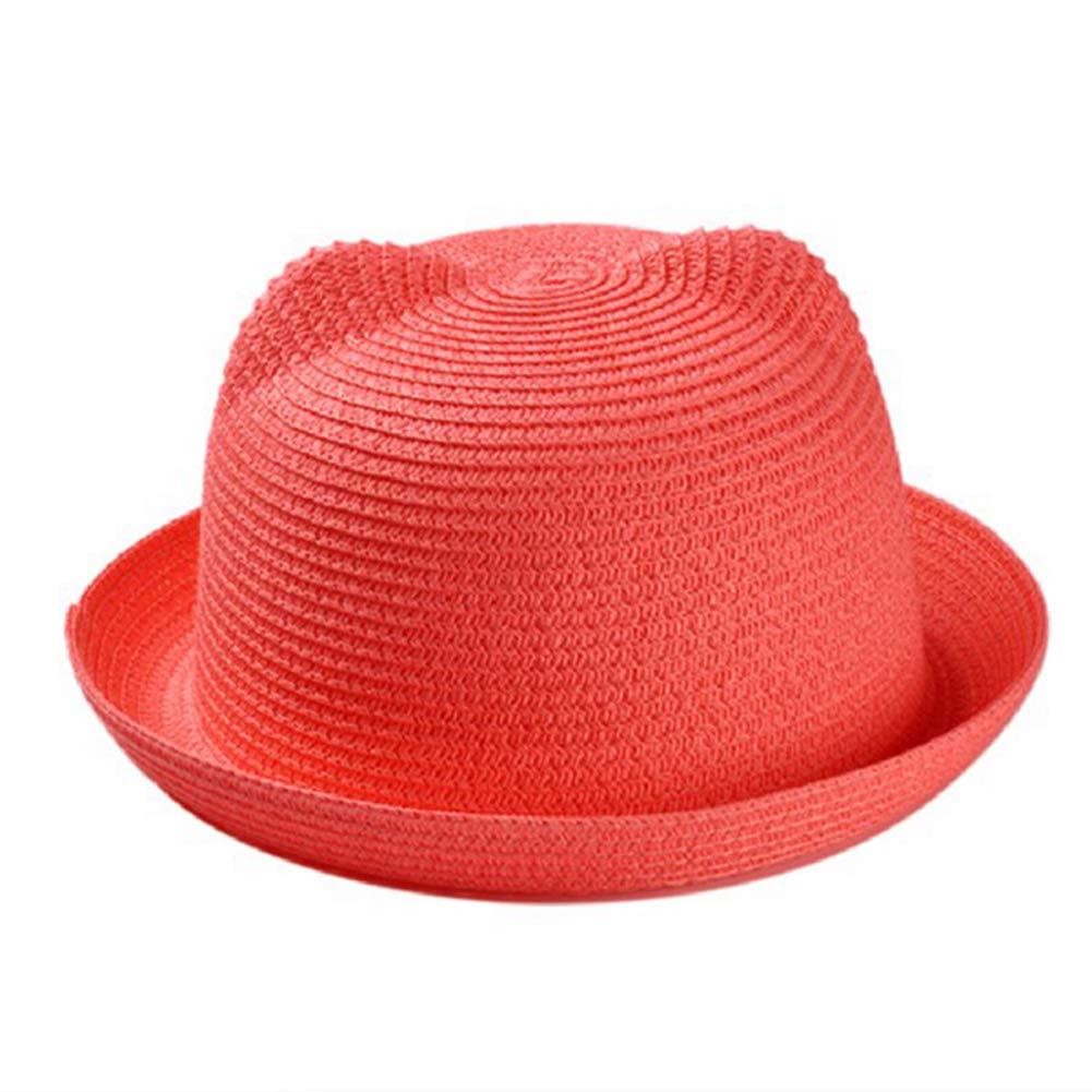 Children Cute Straw Hats Character Ear Decoration Summer Sun Hat Solid Bucket Cap Beach Hat
