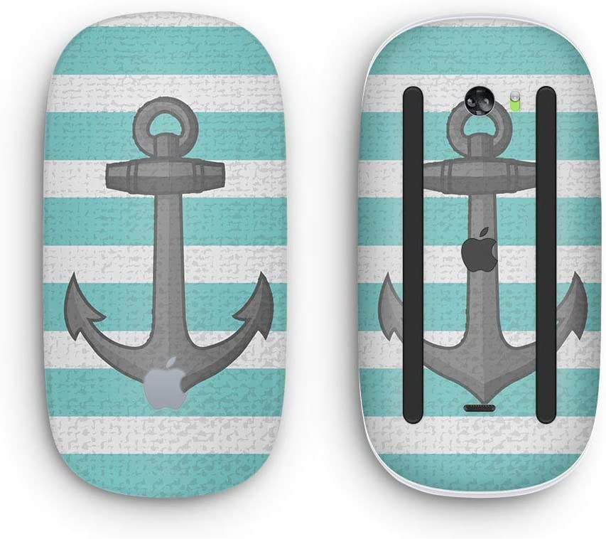 Design Skinz Premium Vinyl Decal for The Apple Magic Mouse 2 with Multi-Touch Surface Teal Stripes with Gray Nautical Anchor Wireless, Rechargable