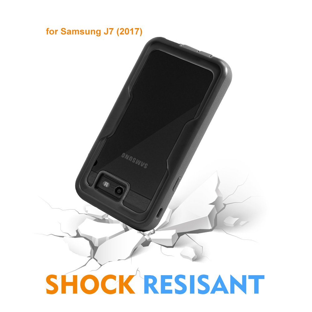 For Samsung Galaxy J7/Sky Pro/J7 Prime/J7V/J727/Perx/Halo Full Body Rugged Holster Explorer Armor Case with Built in Screen Protector (Black) by customerfirst (Image #5)