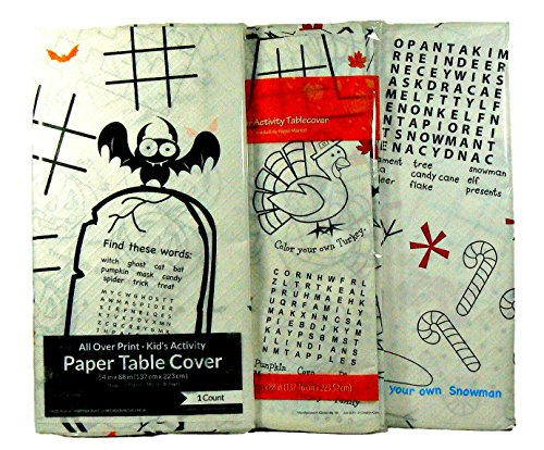 (Children's Holiday Activity Paper Table Cover/Tablecloth Bundle 3 Pc - Halloween, Thanksgiving,)