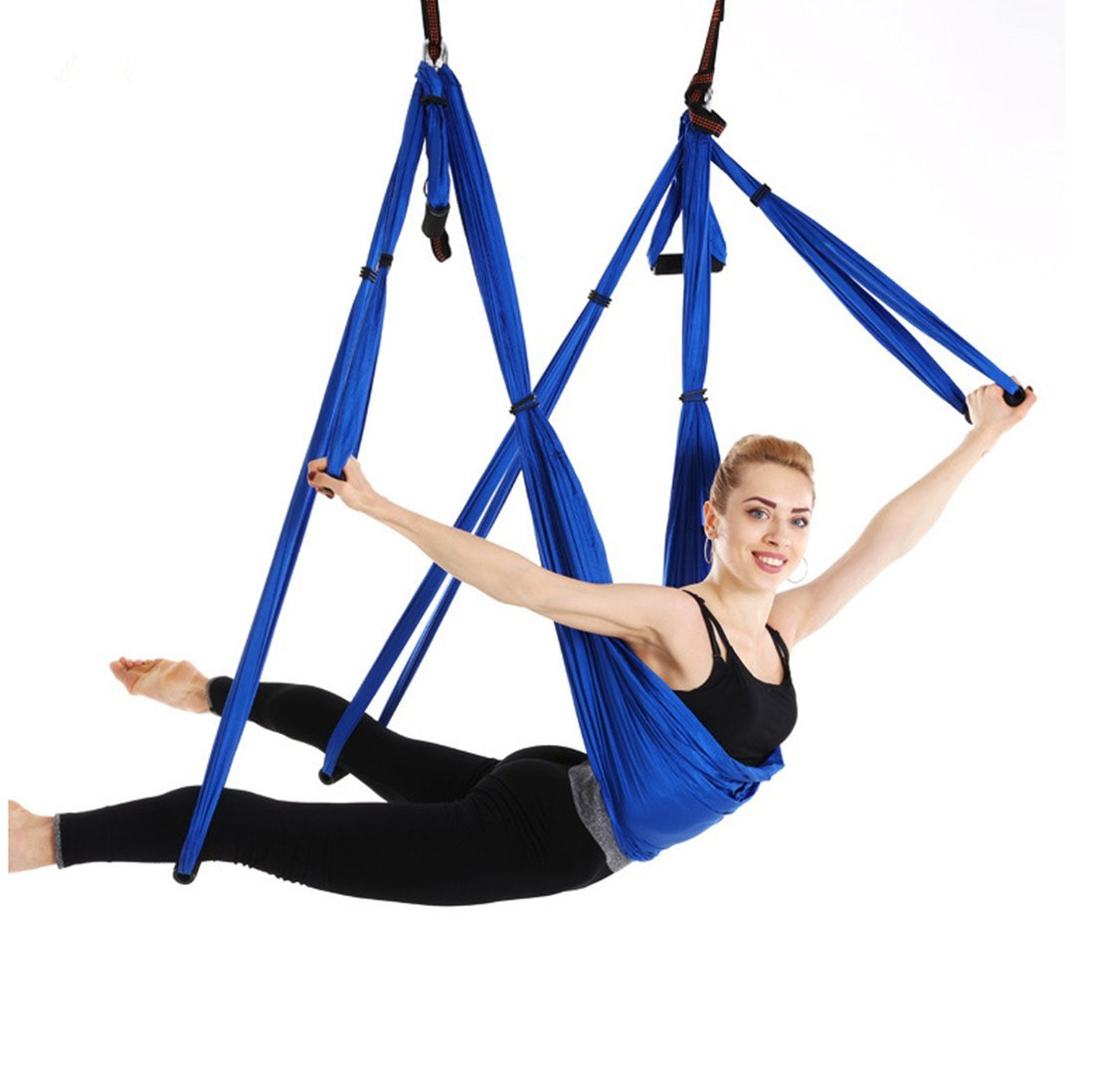 Ranbo Aerial Yoga Trapeze Set Ultra Strong Antigravity Yoga Swing/Hammock Holds Up to 400 Pounds for Inversion Exercises Pilate Fitness Flexibility Core Strength Weight Loss (Dark Blue)