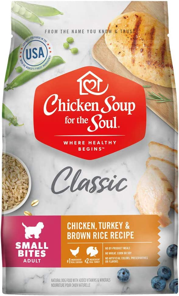 Chicken Soup for the Soul Pet Food Small Bites Dog Food, Chicken, Turkey and Brown Rice, 13.5 lb. Bag | Soy Free, Corn Free, Wheat Free | Dry Dog Food Made with Real Ingredients, Model Number: 101013