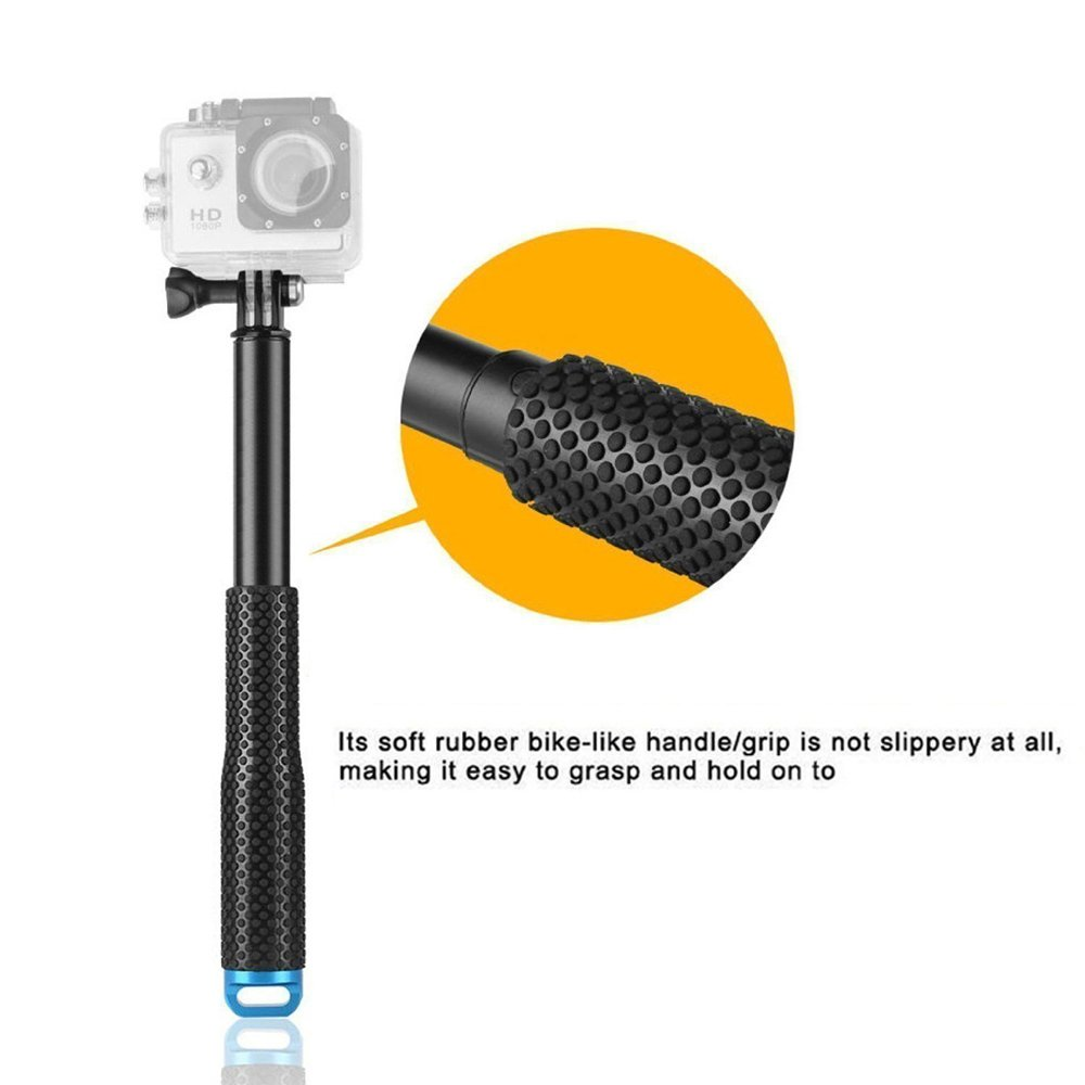MyArmor Rubberized Aluminum Hand Grip Waterproof Selfie Stick Extendable (36 inch) Telescopic Handheld Pole Monopod for GoPro HD Hero 5/4/3+/3/2/1