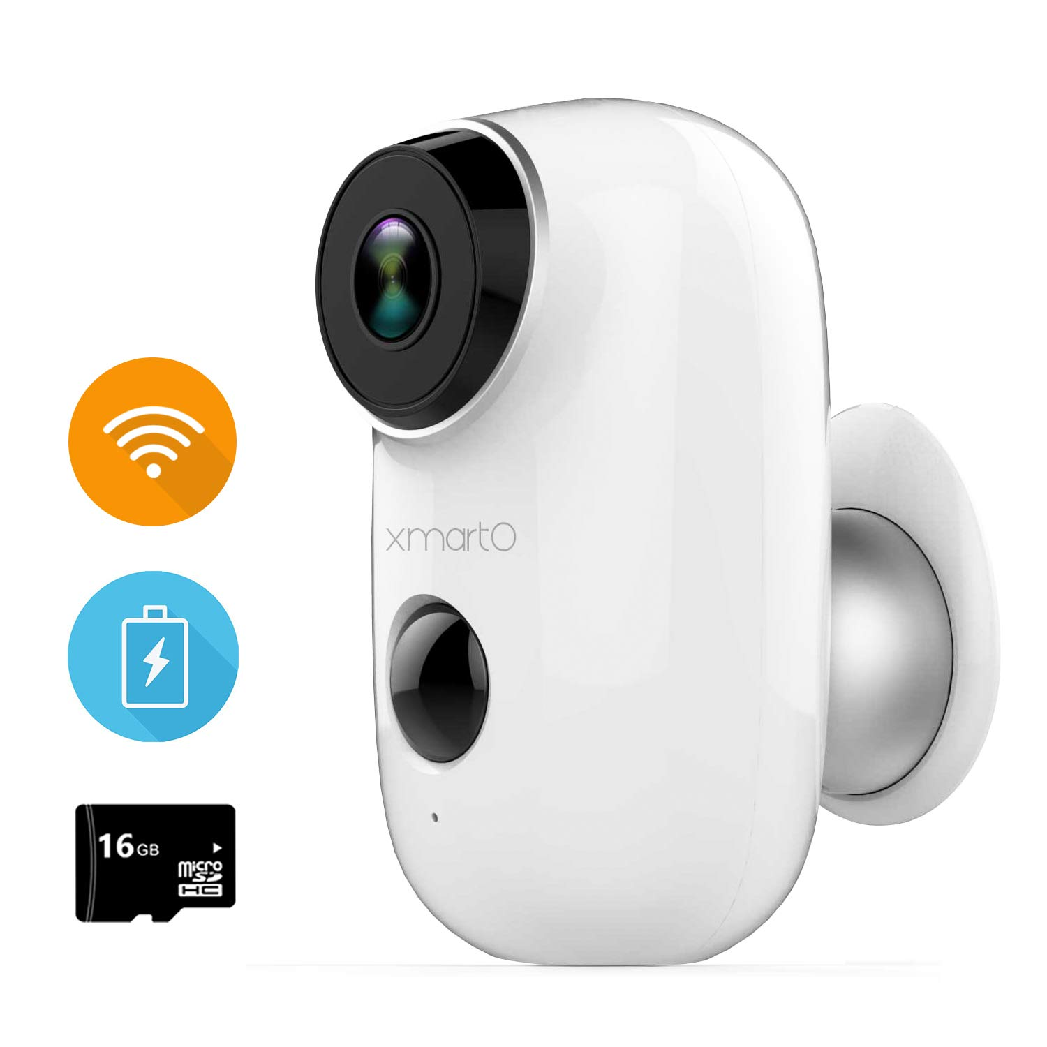 xmartO Wireless Security Camera Outdoor for Home Surveillance, Baby Monitor, Pet Camera, Rechargeable Battery Operated, Motion Detection, 2 Way Audio, Ip65 Weatherproof, Night Vision, 16GB Storage