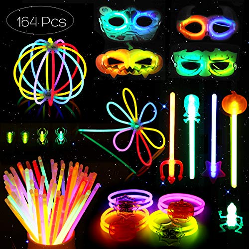 Unomor Halloween Toys Party Favors for Kids Trick or Treat, 164 Glow Sticks with Connectors Masks Bracelets Costume Treat Bag Fillers -