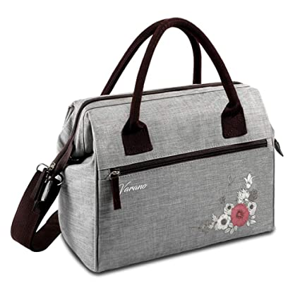 VARANO Stylish Lunch Bag Adult Insulated Lunch Box Tote Bag for Women &  Girls with Removable Shoulder Strap and Exterior Pockets, 100% Original  Design