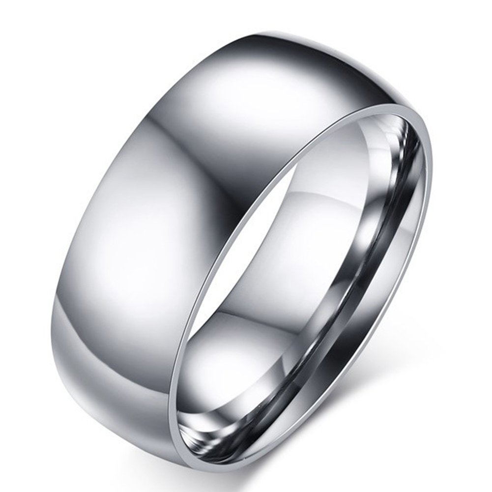 SAINTHERO Mens Wedding Bands Classic 8MM Titanium Steel Promise Rings for Him High Polish Comfort Fit Size 13