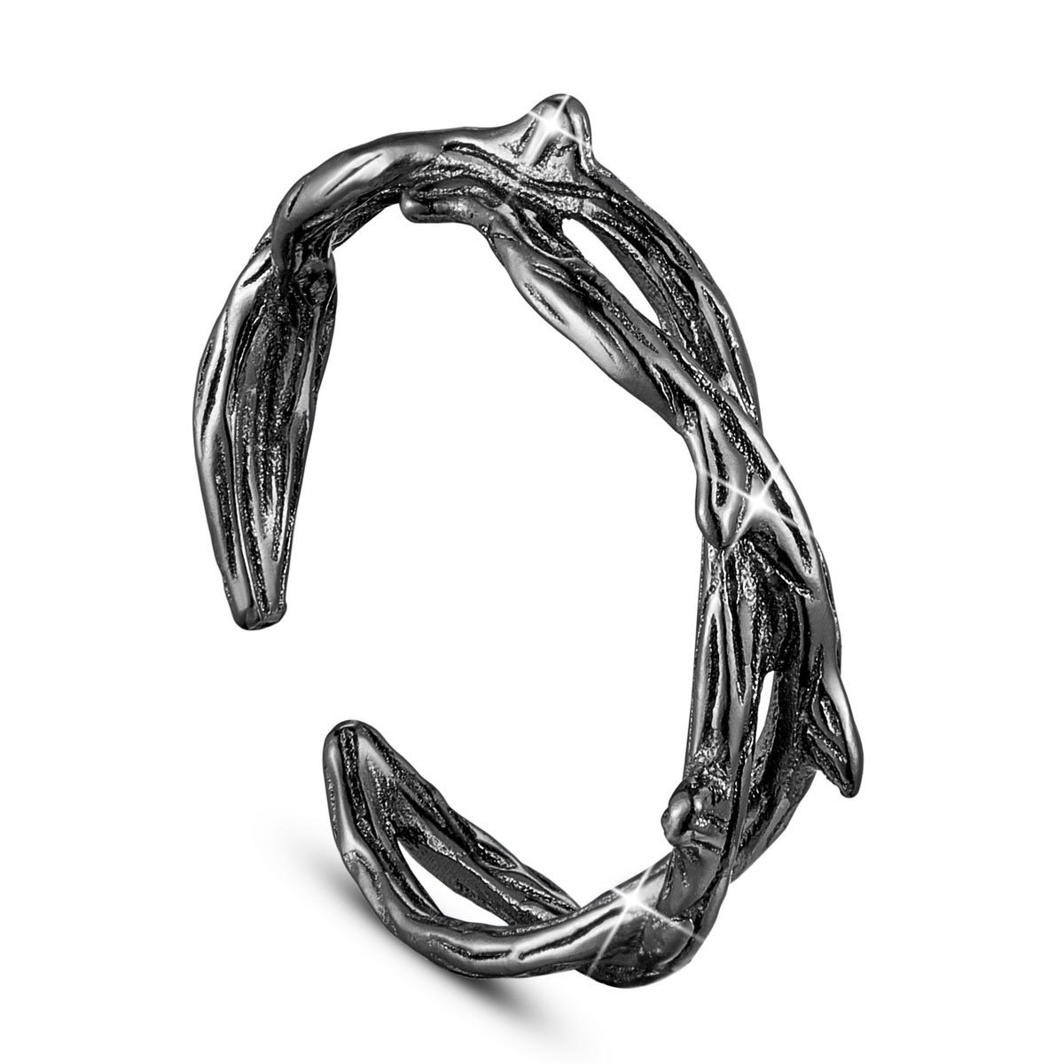 SHEGRACE Cool Twisted Ring for Women 925 Sterling Silver Black Twig Ring