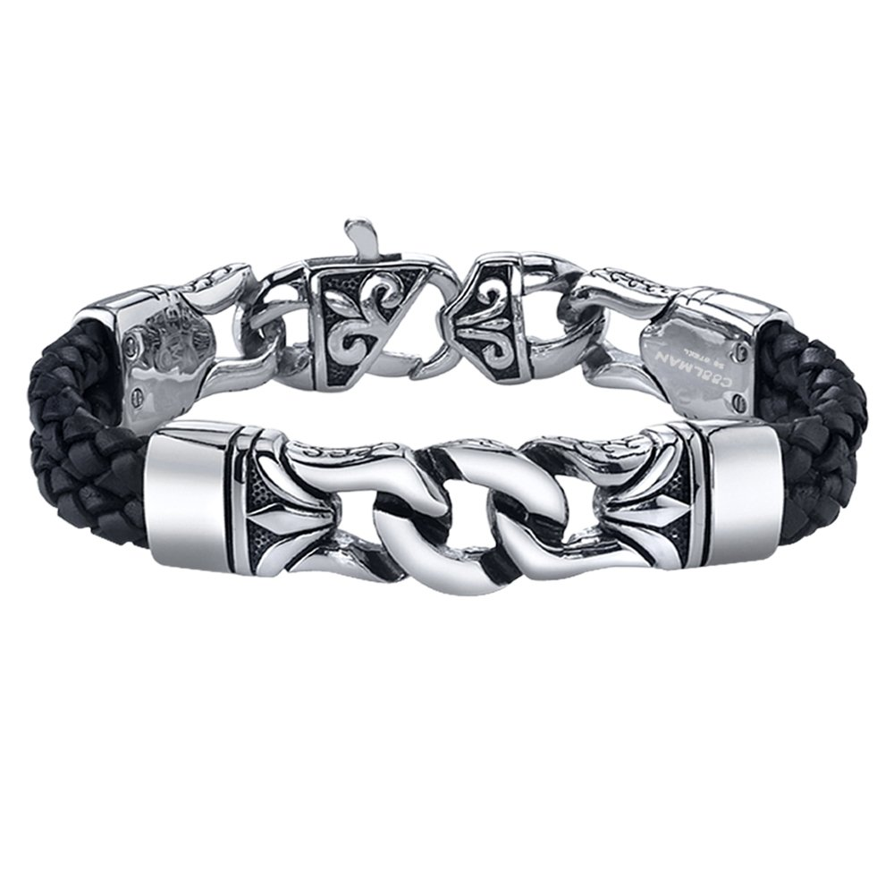 Coolman Stainless Steel and Leather Bracelet Black & Silver Cuff Bracelet Wristband for Men CM-STB08