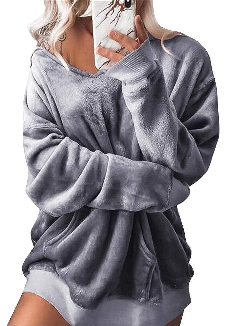Fubotevic Womens Long Sleeve Loose Fit Velvet Plus Size Pullover Hoodie Hooded Sweatshirt