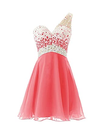 e2fb64991f9 Amazon.com  Sarahbridal Juniors Beaded Short Prom Dresses 2019 Chiffon Homecoming  Party Gowns Coral US10  Clothing