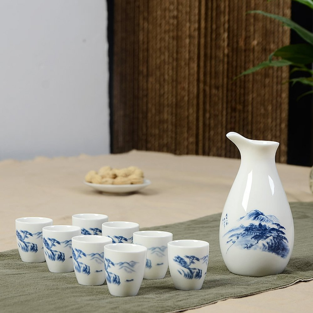 Dehua Porcelain 9 Pc Ceramic Sake Set White and Blue Porcelain-#6