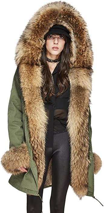 c3ea0ed925496 Melody Women s Winter Real Raccoon Fur Collar Hooded Coat Rabbit Fur Lined  Parka Long Jacket (