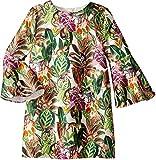 Oscar de la Renta Childrenswear Baby Girl's Mikado Jungle Monkeys Bell Sleeve Dress (Toddler/Little Kids/Big Kids) Jungle Green 12