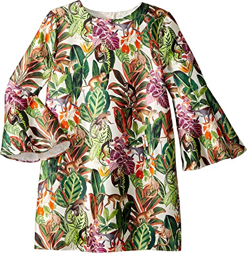 OSCAR DE LA RENTA Childrenswear Baby Girl's Mikado Jungle Monkeys Bell Sleeve Dress (Toddler/Little Kids/Big Kids) Jungle Green 3 ()