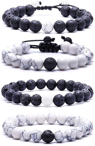 Howlite  bracelet 4 mm bead bracelet Stone bracelet Unisex bracelet Adjustable bracelet