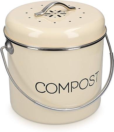 navaris poubelle a compost 3l bac a compost de cuisine en acier inoxydable composteur de cuisine pour dechets alimentaires 3x filtre charbon