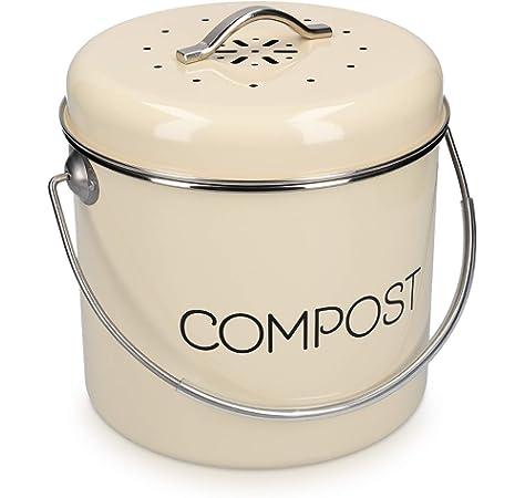 Contenedor Reciclaje Metal Interiores para Restos de Comida - Contenedor Residuos con 1 Cubo Interno y 2 Filtros de Carb/ón BELLE VOUS Cubo Compost para Cocina 4 litros