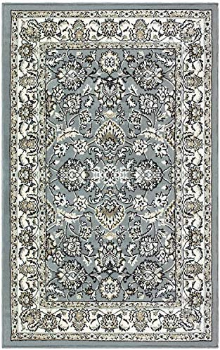 Blue Nile Mills Jasmine Indoor Area Rug, Super Soft, Durable, Elegant, Floral Damask Pattern, Cottage, Country, Cabin, Oriental, Vintage, Contemporary Style, Jute Backing, Cream, 5 x 8