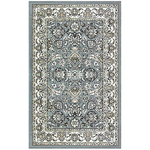 Blue Nile Mills Jasmine Indoor Area Rug, Super Soft, Durable, Elegant, Floral Damask Pattern, Cottage, Country, Cabin, Oriental, Vintage, Contemporary Style, Jute Backing, Cream, 4 x 6
