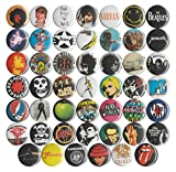 "Huge Wholesale Lot of 48 Music and Band 1"" Pins/Buttons/Badges"