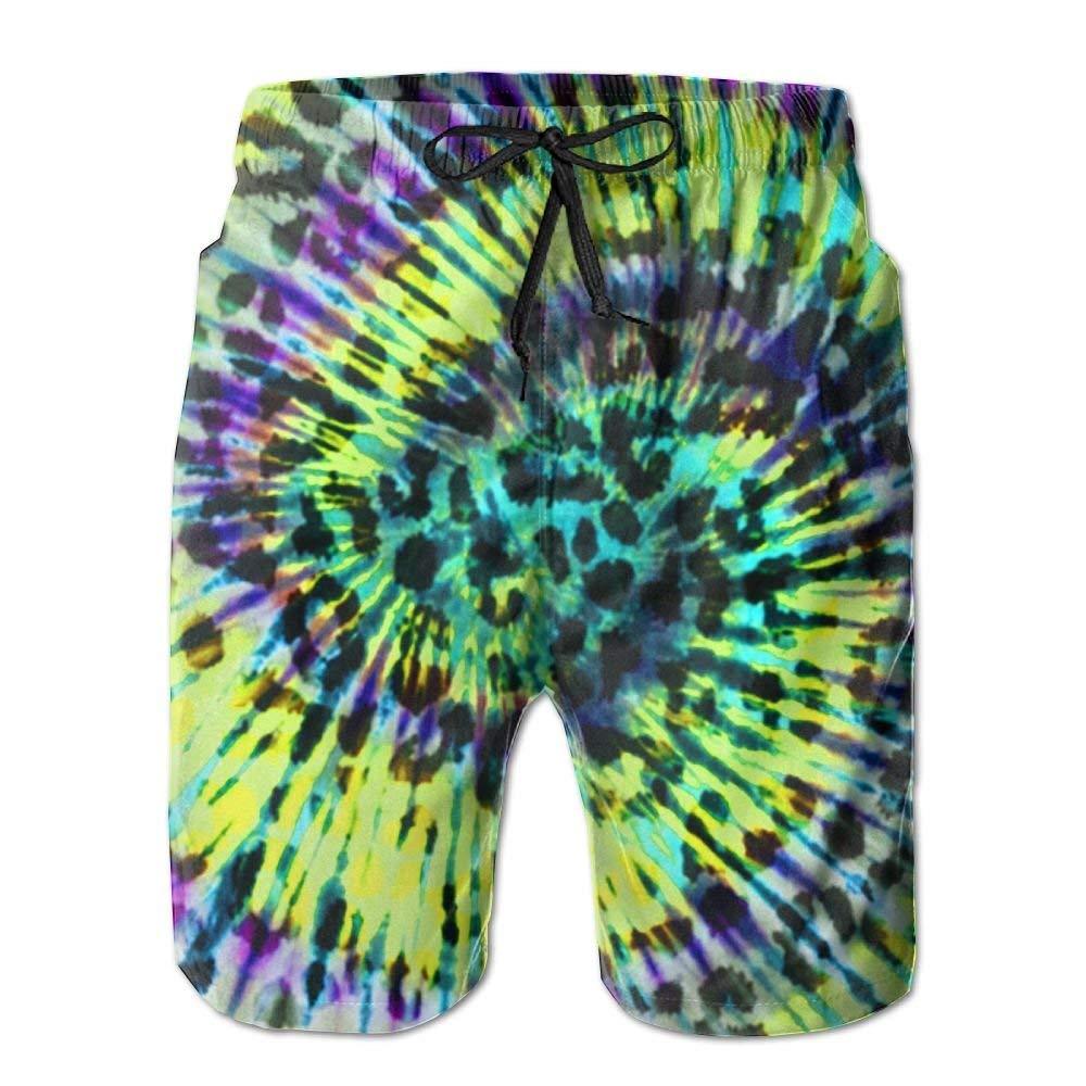 MIGAGA Colorful Leopard Tie Dye Casual Mens Swim Trunk Beach Shorts