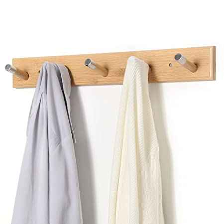 LANGRIA Wall Mounted Coat Rack with Hooks Eco-Friendly Space Saving Bamboo Design with Embedded Screws and Five Hangers for Jackets, Coats, Hats, Umbrellas, Scarfs, Bags, Holds 10kg in Weight