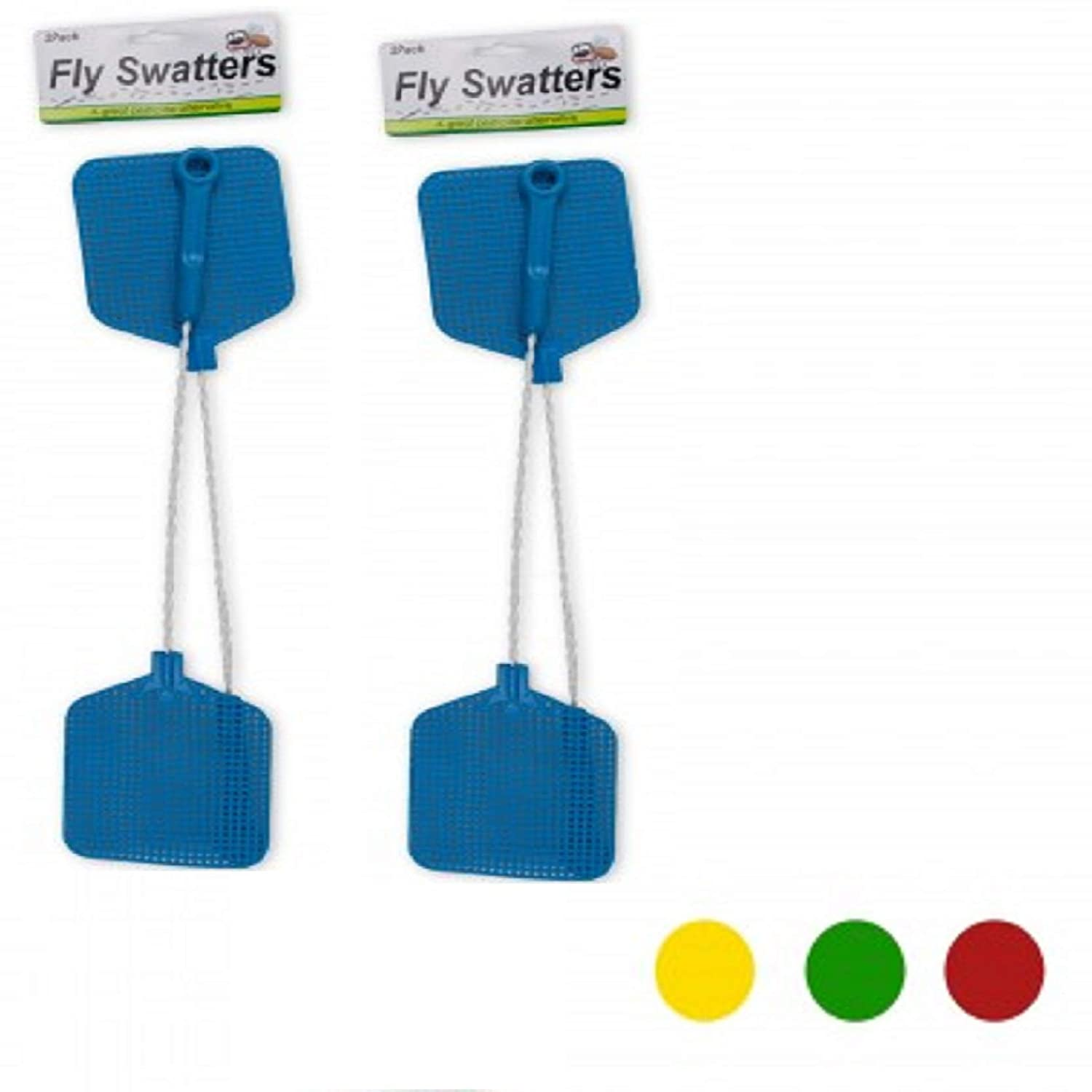 bulk buys Fly Swatter with Wire Handles 2 Pack Assorted Colors
