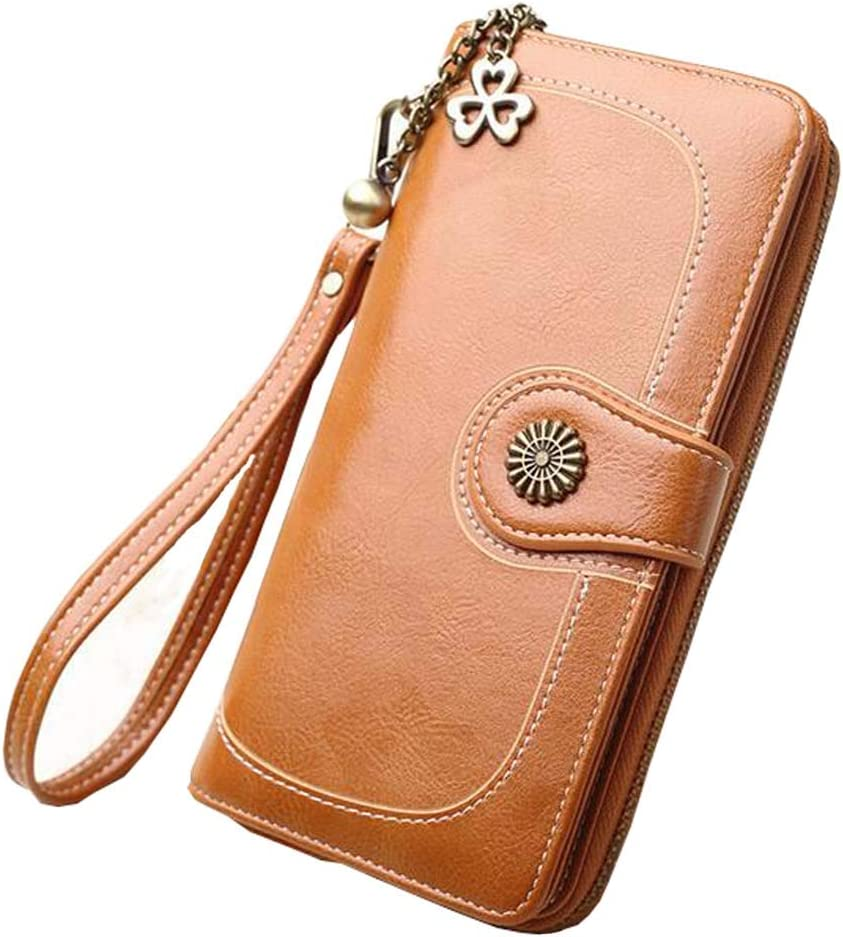 Large Capacity Blocking PU Leahter Clutch Bag Purse with Wrist Strap 11 Card Slots 2 Bill Position Zipper Pocket for Universal Mobile Phone Key Coin Purses Black Coopay Long Ladies Wallets for Women